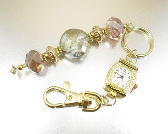 Bold Pink, Green, Gold and Rose Gold Beaded Key Chain, Purse Embellishment, Zipper Pull with Rhinestone Studded Watch Face