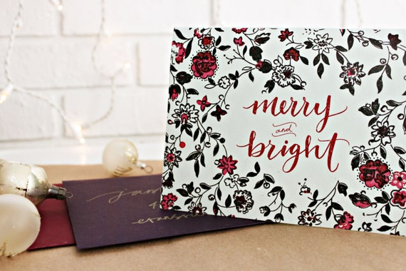 Merry and Bright Calligraphy Holiday Card // Single