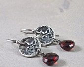 Silver Victorian Flower Button Garnet Earings Artisan Made with Eco Friendly Silver and  Garnet Drops