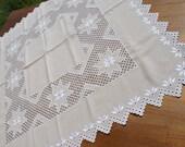 "Very nice beige hardanger tableclot,  with hungarian folk art pattern: ""Recski kalodás"", ""Paloc"""