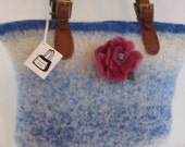 Reserved for Nannette Rose Pin Flower Purse Hand Knitted Felted Custom Lined