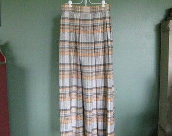 Vintage High Waisted Maxi Skirt,  Orange Silver & Black Pleated Plaid  - 1960's era