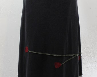 T-Skirt Upcycled, recycled, appliqué black/grey long t shirt skirt with red flowers