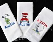Baby Burpcloth Set - Baby Bib Set - Burpcloths for Baby Boy - Baby Shower Gift for Boy - New Baby Gift - Burp Rags - Monogrammed