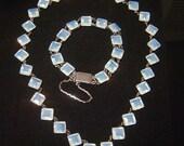 Stunning Vintage Moonstone look Necklace & Bracelet silver