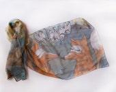 Fox scarf/ Transitional scarf/ Fall in love foxes scarf hand painted. Animal scarves. Silk chiffon scarf/ Grey green orange scarf.