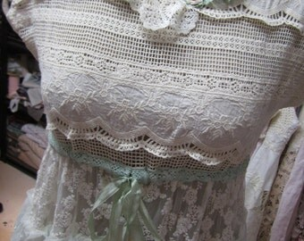 Vintage Kitty shabby chic lace dress.. mint green with cream.. embroidery and lace..cotton lace, shabby chic, layers, romantic..Large