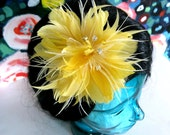 Happy Day feather flower fascinator with rhinetsones and crystals
