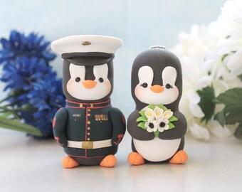 Wedding cake toppers Military Penguins - US Marine dress blue jacket with hat - LARGER  size- keepsake personalized black white wedding gift