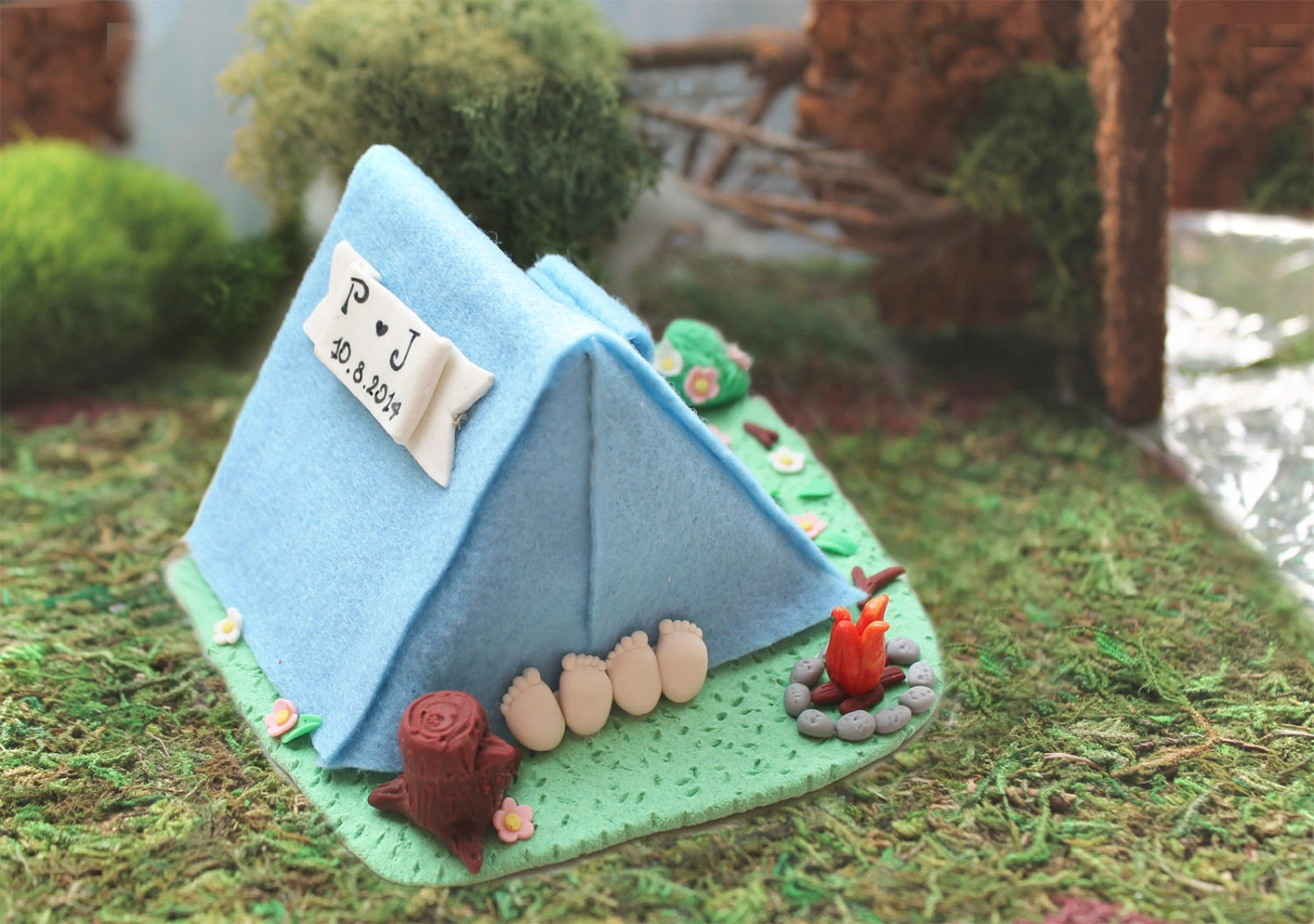 Camping tent wedding cake topper funny personalized cute