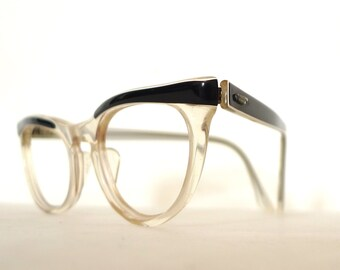 SALE Shuron Winged Black and CLear Cat Eye Glasses/ Vintage 50s 60s Eyewear/ Women's Sunglasses