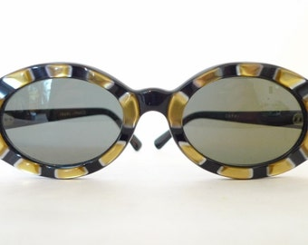 Gold Sun Cat Eye Glasses Stunning Vintage 60s Bubble Sunglass Eyeglass Frame. Glam Rock. Bowie. Golden Molded Surround. Mod. Unisex.