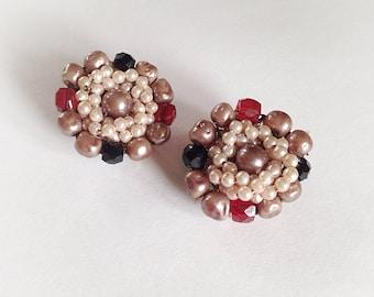 Vintage Plastic Bead Earrings Clip On Japan Faux Pearl