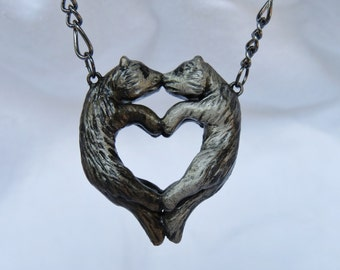 Ferret Love Necklace Heart Kissing Couple Polymer Clay