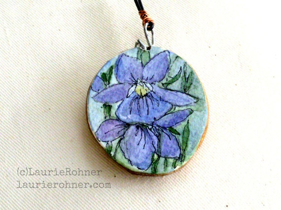 Violets Watercolor Nature Art Wood Pendant Necklace Botanical Spring Illustration