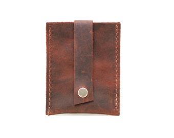 """Men's Leather Credit Card Wallet / Business Card Holder  - Industrial """"Pop Up"""" Design"""