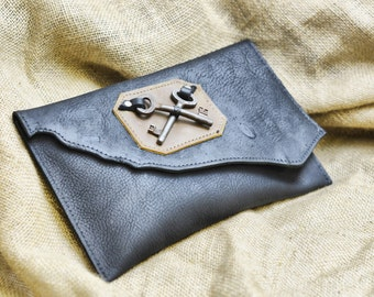 Raw Edge Leather Bag - Black Leather Clutch with Skeleton Key -Heraldic Steampunk Rustic