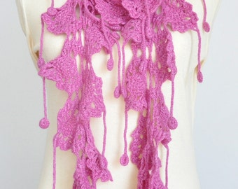 ZIGZAG - Pink - Crochet Cashmere and Wool Blend Yarn Long Lace Scarf