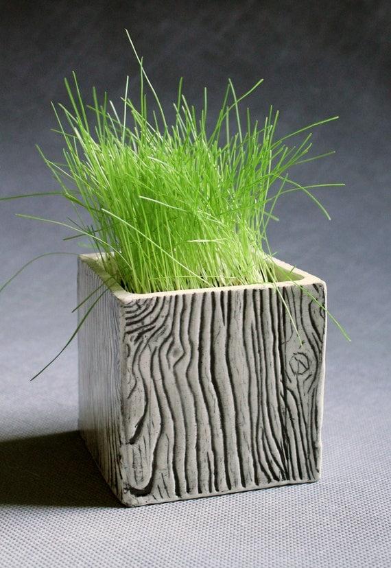Ceramic Wood Grain Cube Wall Planter