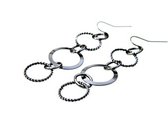 Long Dangle Earrings Circle Earrings STATEMENT Earrings Black Metal Rocker Style High Fashion Hoops Infinity Hip Edgy Chic Modern Mei Faith