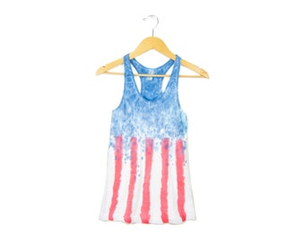 "SAMPLE SALE - Spangled Banner - ""Splash Dyed"" American Flag Scoop Neck Racerback Tank Top in Red White and Blue - Women's M Q"
