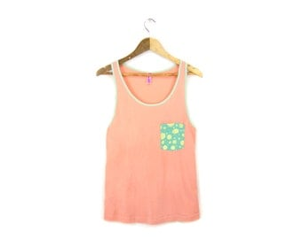 SAMPLE SALE Cotton Candy - Oversized Hand Stenciled Slouchy Scoop Neck Women's Pocket Tank in Peach and Mint - Free Size Q