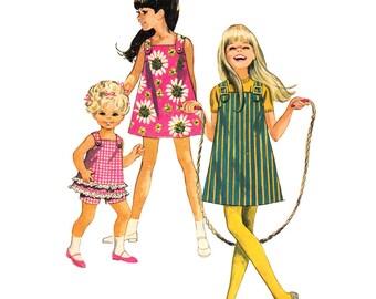 Girls Jumper Dress Top Shorts Pattern Simplicity 7709 Ruffled Top Sunsuit Shoulder Straps Sewing Pattern Size 6 UNCUT