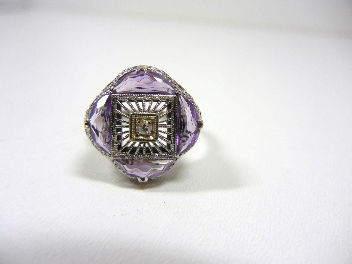 amethyst and ring unique vintage filigree ring