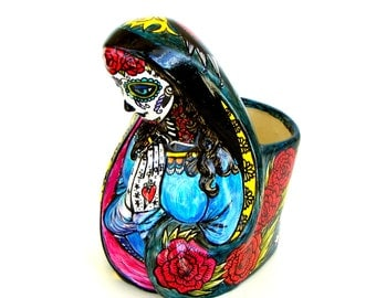Large Madonna Planter Day of the Dead Upcycled Vintage Mary Tattoo Hand Painted Dia de los muertos Sugar Skull Birds Roses - MADE TO ORDER