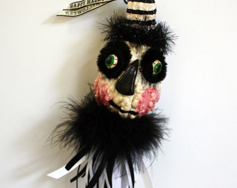 Halloween FolkArt Gourd Ghost Ornament Decoration