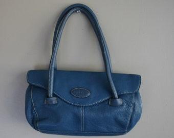 Blue Leather Purse - Leather Purse by Tig & Co - Casual Purse - Everyday Purse - 1980s Vintage Purse - Cool Blue - Medium Size Purse - Cute