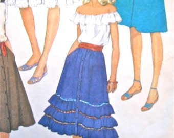 1970s Vintage Sewing Ruffle Skirt Pattern McCall's 7554  Waist 24 inches