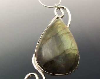 Golden Labradorite Necklace in Sterling Silver