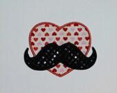"Embroidered Iron On ""Mustache Heart"""