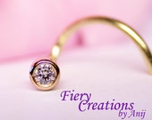 """Nose Screw """"Simply Elegant"""" - 1.5mm fine White Diamond set in 18k SOLID Yellow Gold"""