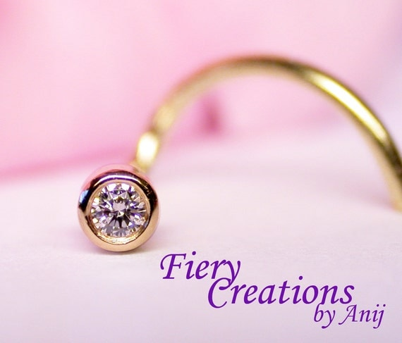 """Nose Screw """"Simply Elegant"""" - 1.4mm fine White Diamond set in 18k SOLID Yellow Gold"""