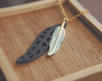 Long Bohemian Necklace Southwestern Turquoise Brass and Wood Pendants  - Two Feathers.