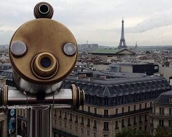 Paris Photography, Telescope Paris View Rooftops, Paris Home Decor Prints, Paris Telescope Wall Art, Dreamy Paris Eiffel Tower Photography
