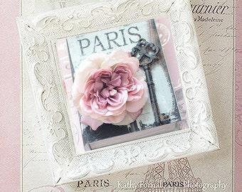 Paris Pink Photo With Frame, Paris Decor, Paris Roses French Key, Skeleton Key Prints, Shabby Chic Paris Framed Art, Paris Pink Rose Key Art