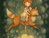 Children's Art - The Fox Carousel Print 5x7 / 6x8 - Nursery Art, Fox, Kid, Cloud, Night, Bedtime, Stars, Sky, Girl, Cute, Blue, Yellow, Red
