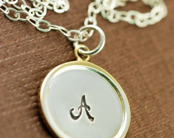 Personalized  Initial Jewelry, Hand Stamped Jewelry, Raised Rim Pendant, Bridal Party Jewelry, Bridesmaid Gifts