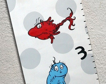 Custom Painted Seuss Inspired One Fish Two Fish Canvas Growth Chart