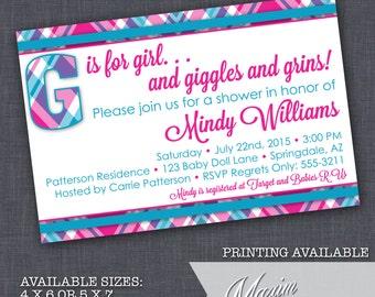 Baby Girl shower invitation - G is for Girl Baby Shower Invitation, Plaid Baby Shower, Party Invitation, Gender Reveal Shower