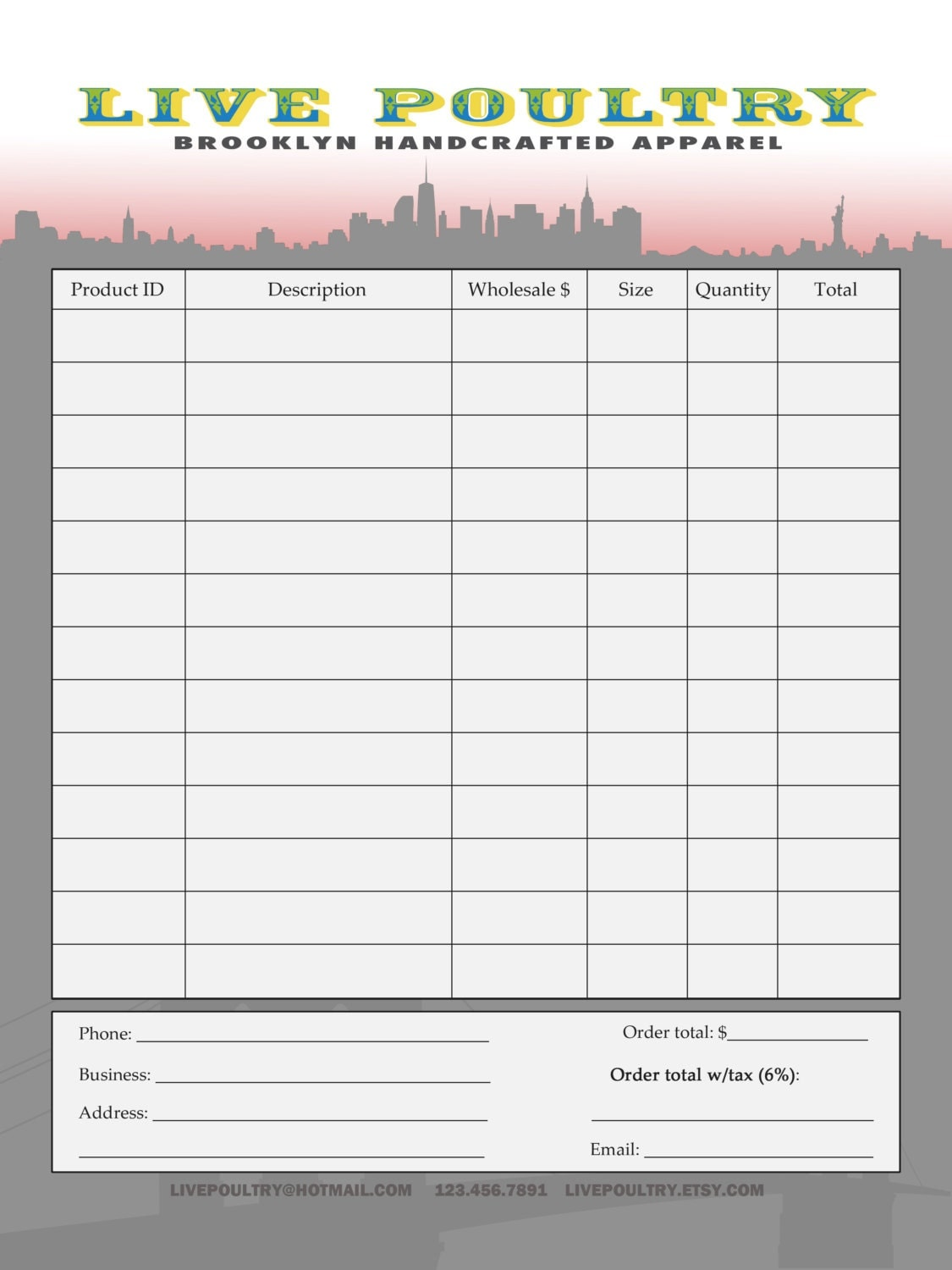 Custom Order Form Template Design .