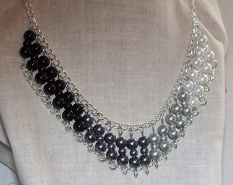 Ombre Bib Glass Pearl Necklace - Black Smoky Gray Silver White  - Glass Pearl Bib Necklace - Statement Necklace