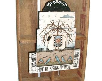 Primitive Sheep on Rustic Spring Plaque