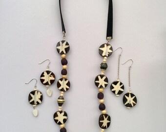 Batik Horn Jewelry, African Jewelry, Recycled glass Jewelry, Tribal Jewelry ,Ethnic Jewelry,Bohemian Jewelry,Statement Necklace, Eco Jewelry
