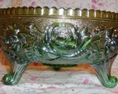 Imperial Luster Rose Carnival Glass Fernery Helios Green 3 footed Bowl UM Circa 1910, This is a Old One, Beautiful