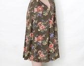 Vintage skirt / floral midi skirt / spring long full skirt / size S-M
