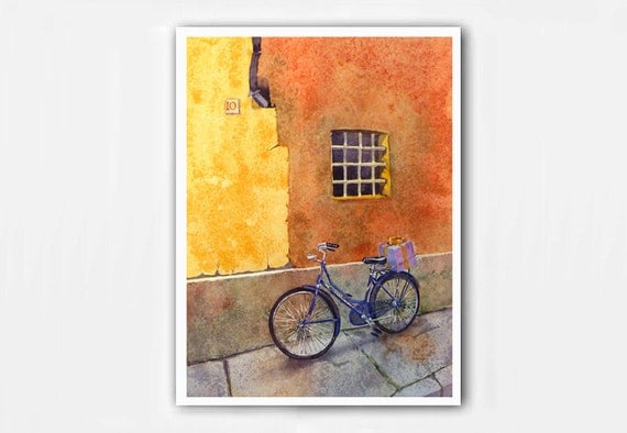Bicycle Art Watercolor PRINT / Bikes Bicycles Italy Italian / Home wall decor /Old Windows color field orange